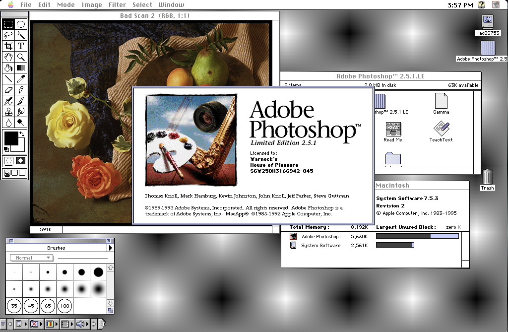 Adobe Photoshop 2.5 for Mac Workspace and Splash Image (1992)