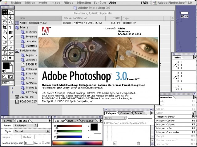 Adobe Photoshop 3.0 for Mac Splash Screen and Workspace (1994)