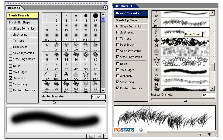 Adobe Photoshop 7.0 Brushes for Mac (left) and Windows (right) (2002)