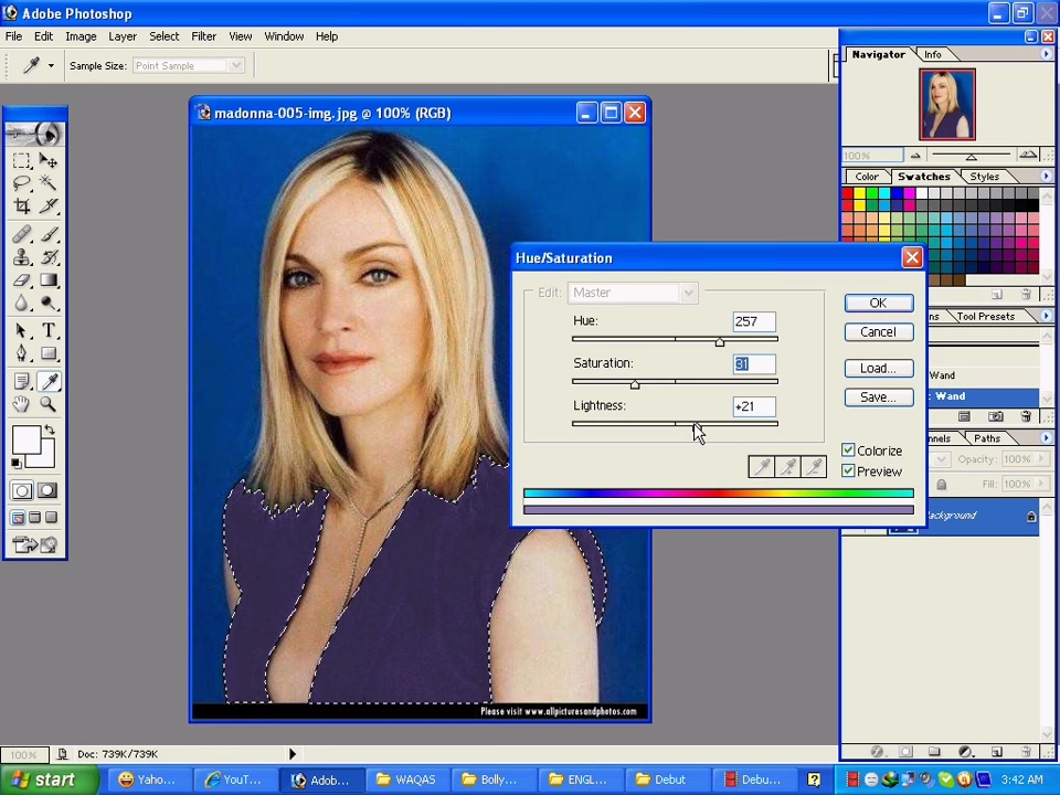 Adobe Photoshop 7.0 for Windows Hue/Saturation Dialog (2002)