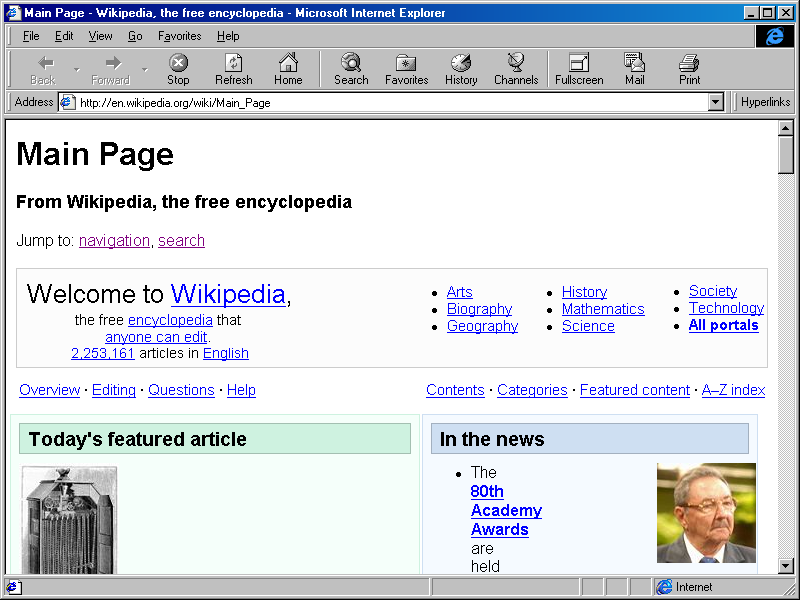 Internet Explorer 4.0 for Windows Showing Wikipedia (1997)