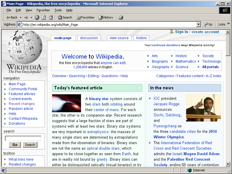 Internet Explorer 5.0 for Windows Showing Wikipedia (1999)