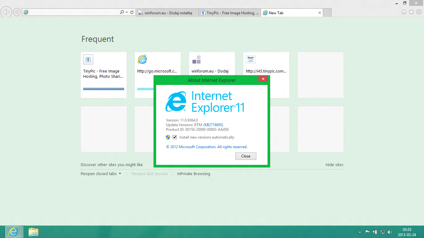 Internet Explorer 11 Frequent Sites and About Dialog (2013)