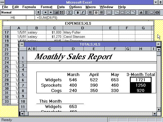 Microsoft Excel 3.0 Multiple Sheets (1990)