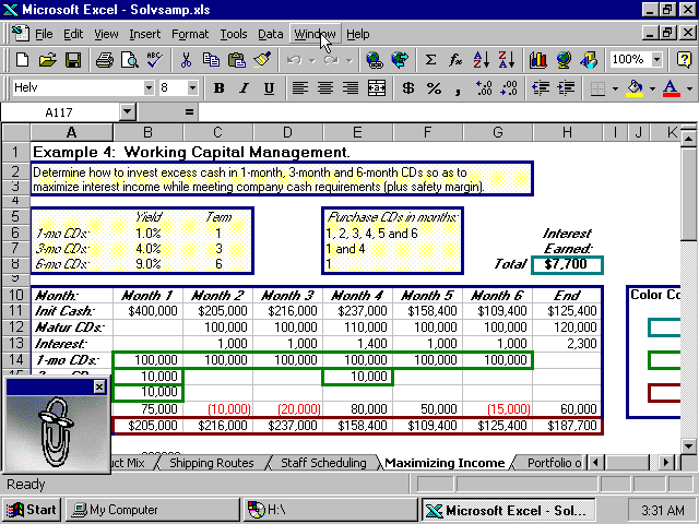Excel 97 Spreadsheet with Clippy (1997)
