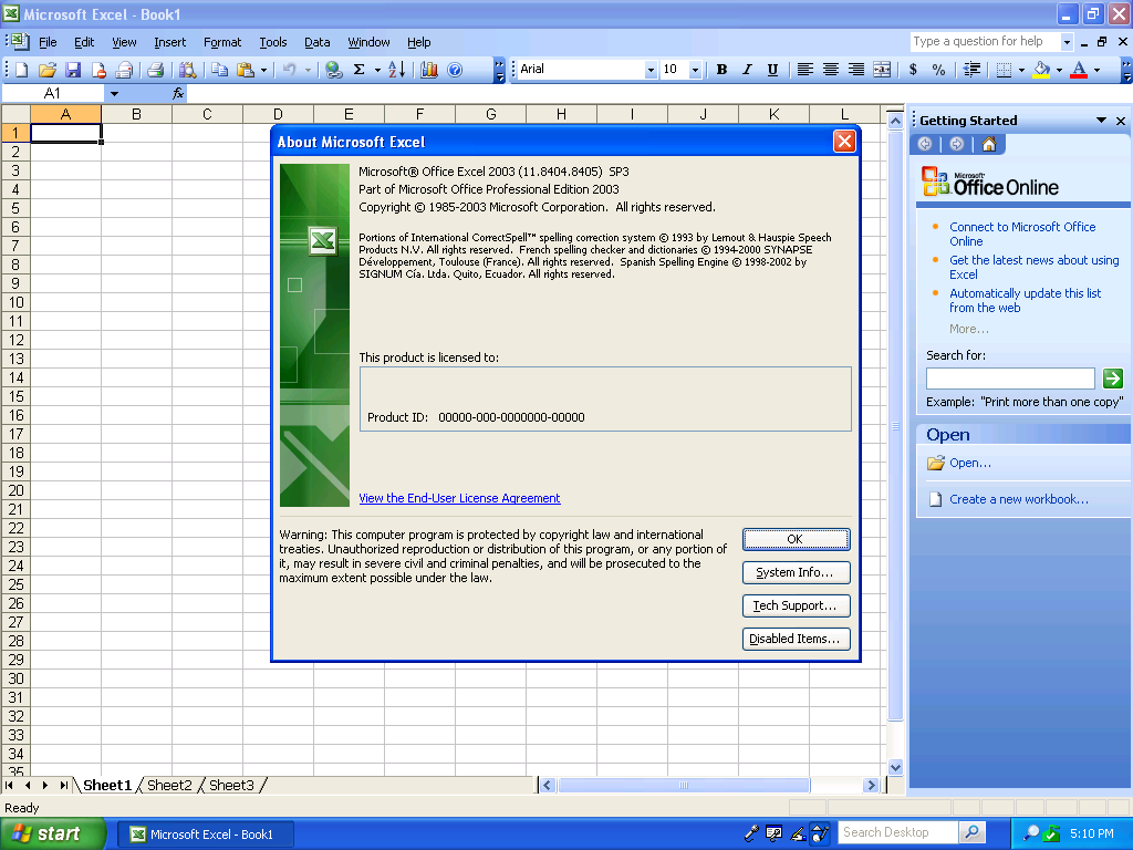 Excel 2003 About Dialog (2003)