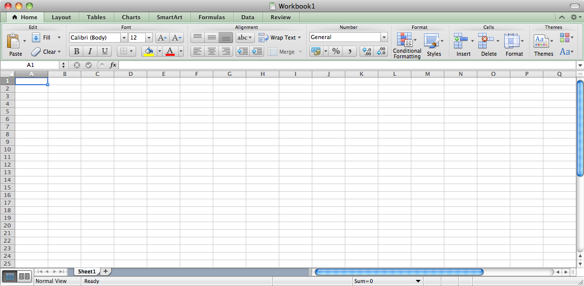 Excel 2011 for Mac Empty Spreadsheet (2011)