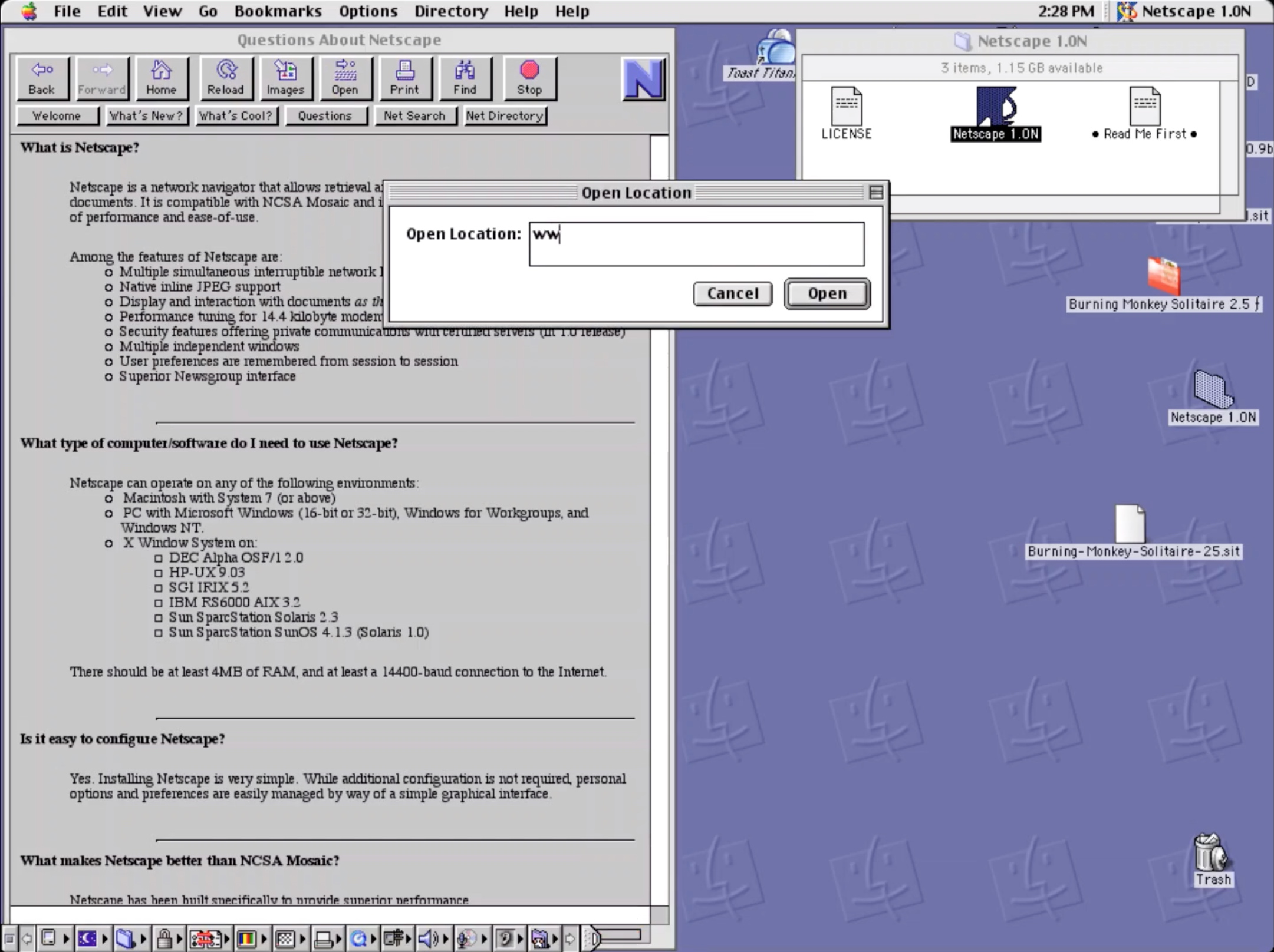 Netscape Navigator 1.0N Browser for Mac Open Location Dialog (1994)