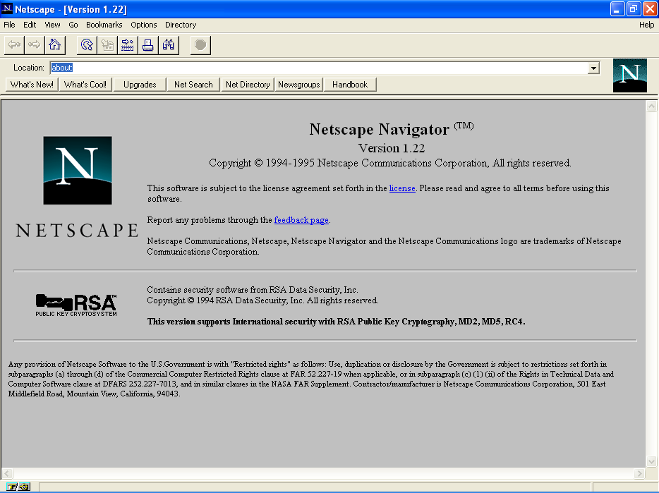 Netscape Navigator 1.22 for Windows XP About Screen (1995)