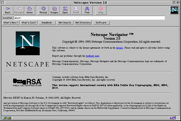 Netscape Navigator 2.0 Browser for Mac About Screen (1995)