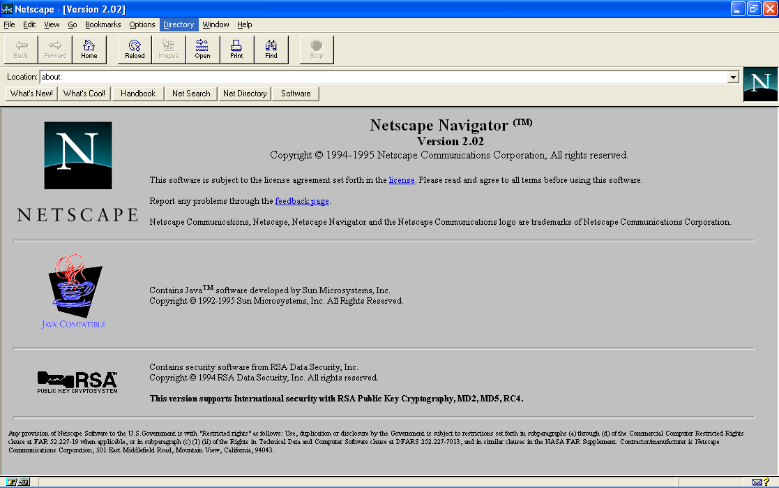 Netscape Navigator 2.02 Browser for Windows (1995)