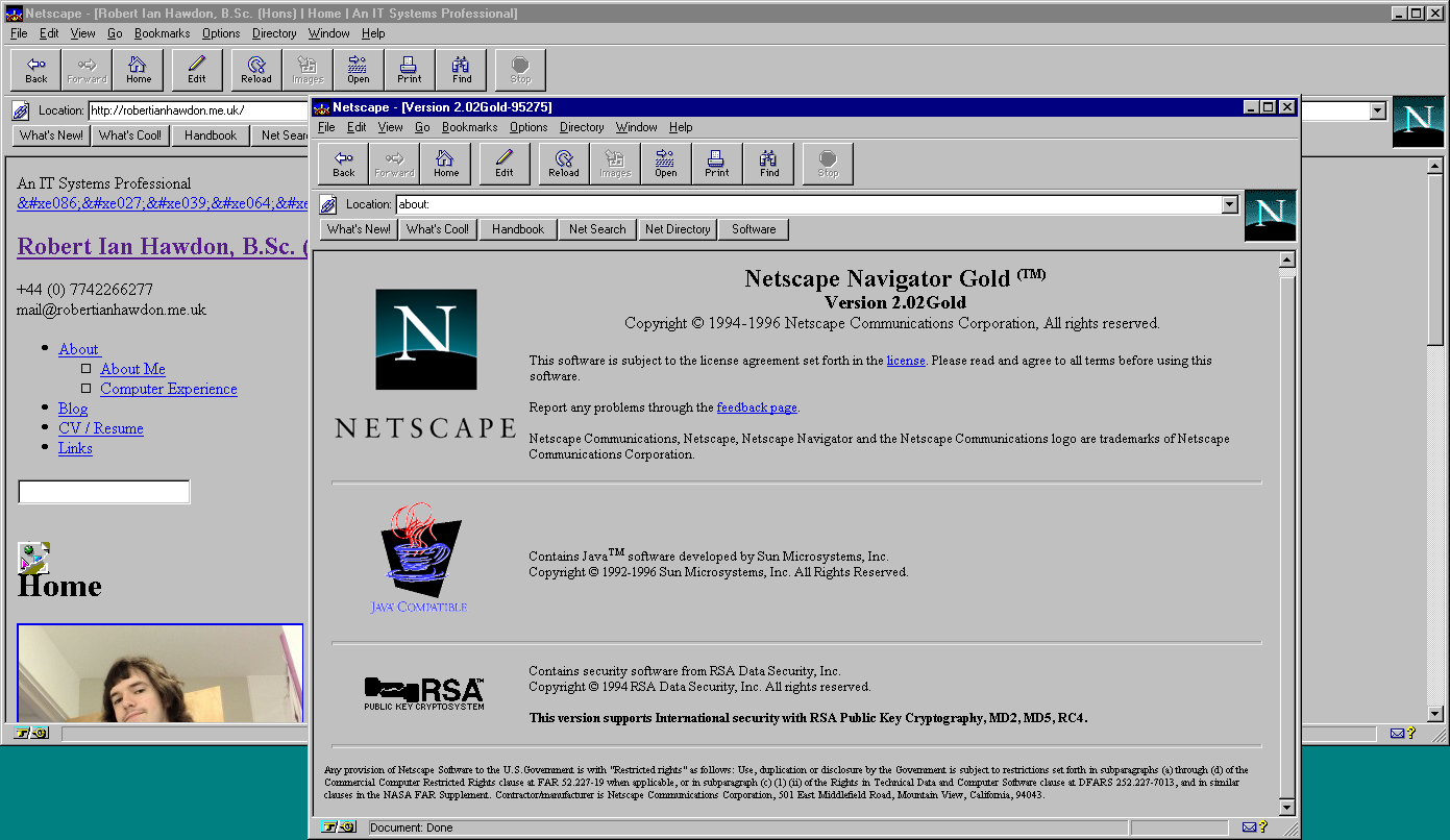 Netscape Navigator 2.02 Gold Browser for Windows (1996)