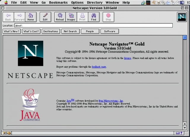 Netscape Navigator 3.01 Gold for Mac About Screen (1996)