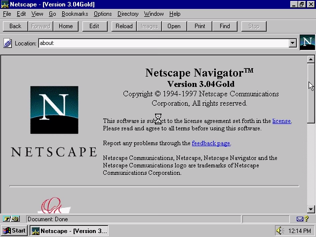 Netscape Navigator 3.04 Gold for Windows About Screen (1997)