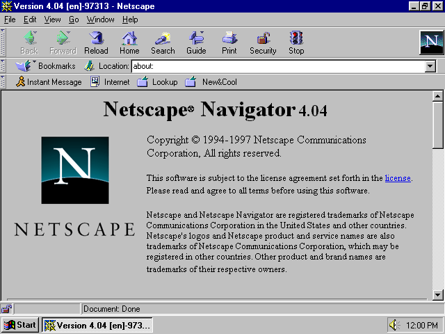 Netscape Navigator 4.04 for Windows About Screen (1997)