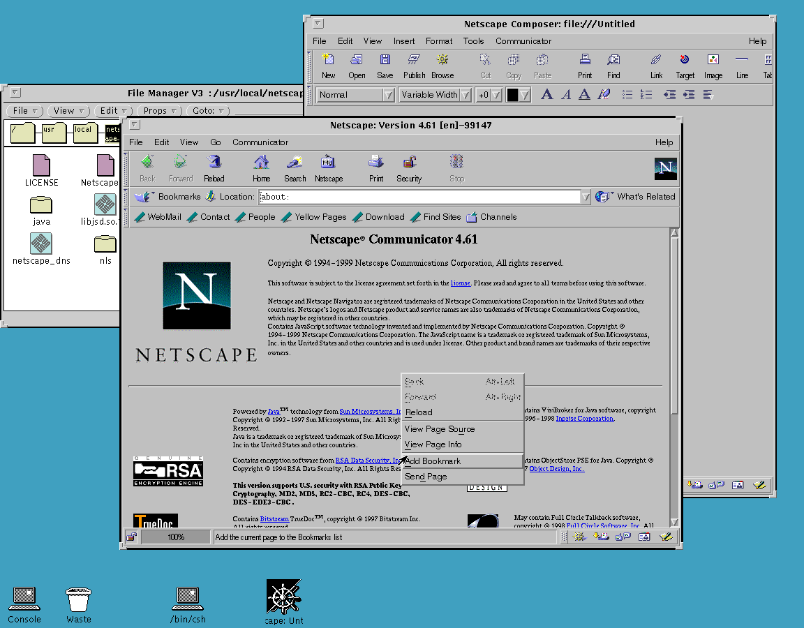 Netscape Communicator 4.61 for SunOS About Screen (1999)
