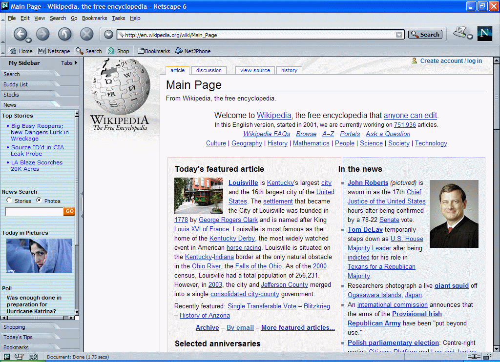 Netscape 6 for Windows showing Wikipedia (2000)