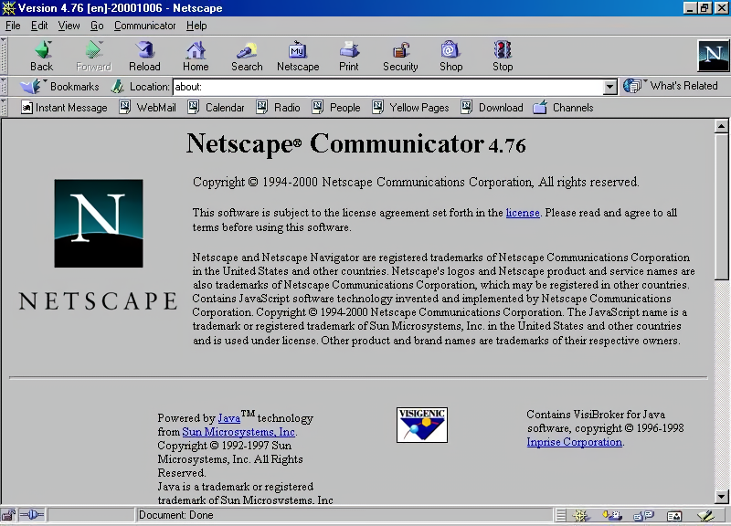 Netscape Communicator 4.76 for Windows About Screen (2000)