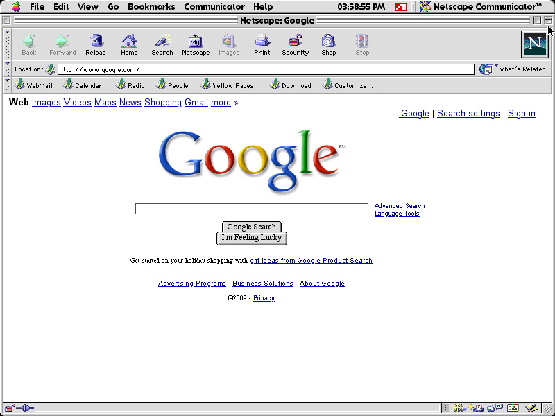 Netscape Communicator 4.8 for Mac performing Google Search in 2009 (2002)