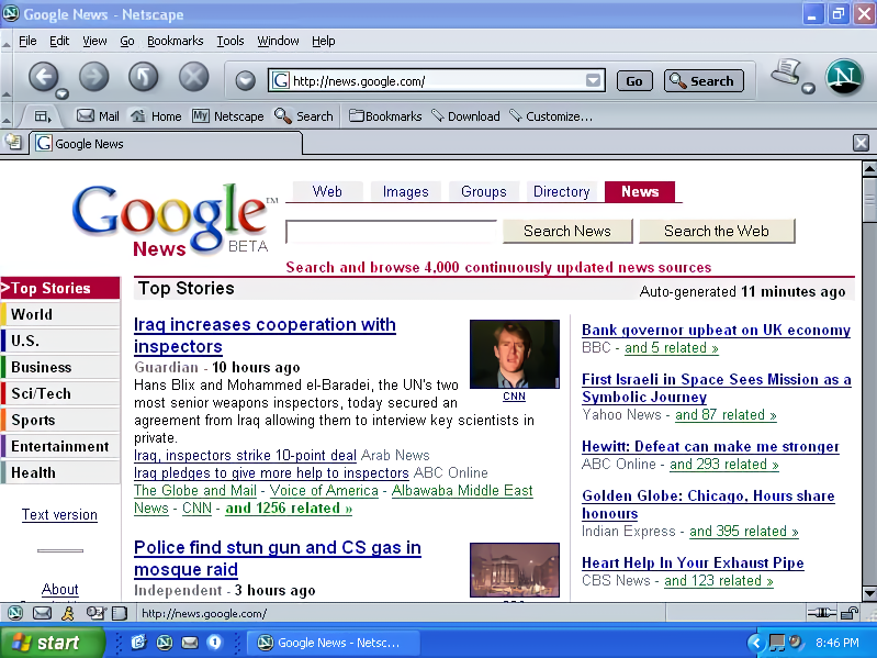 Netscape 7 for Windows showing Google News (2003)