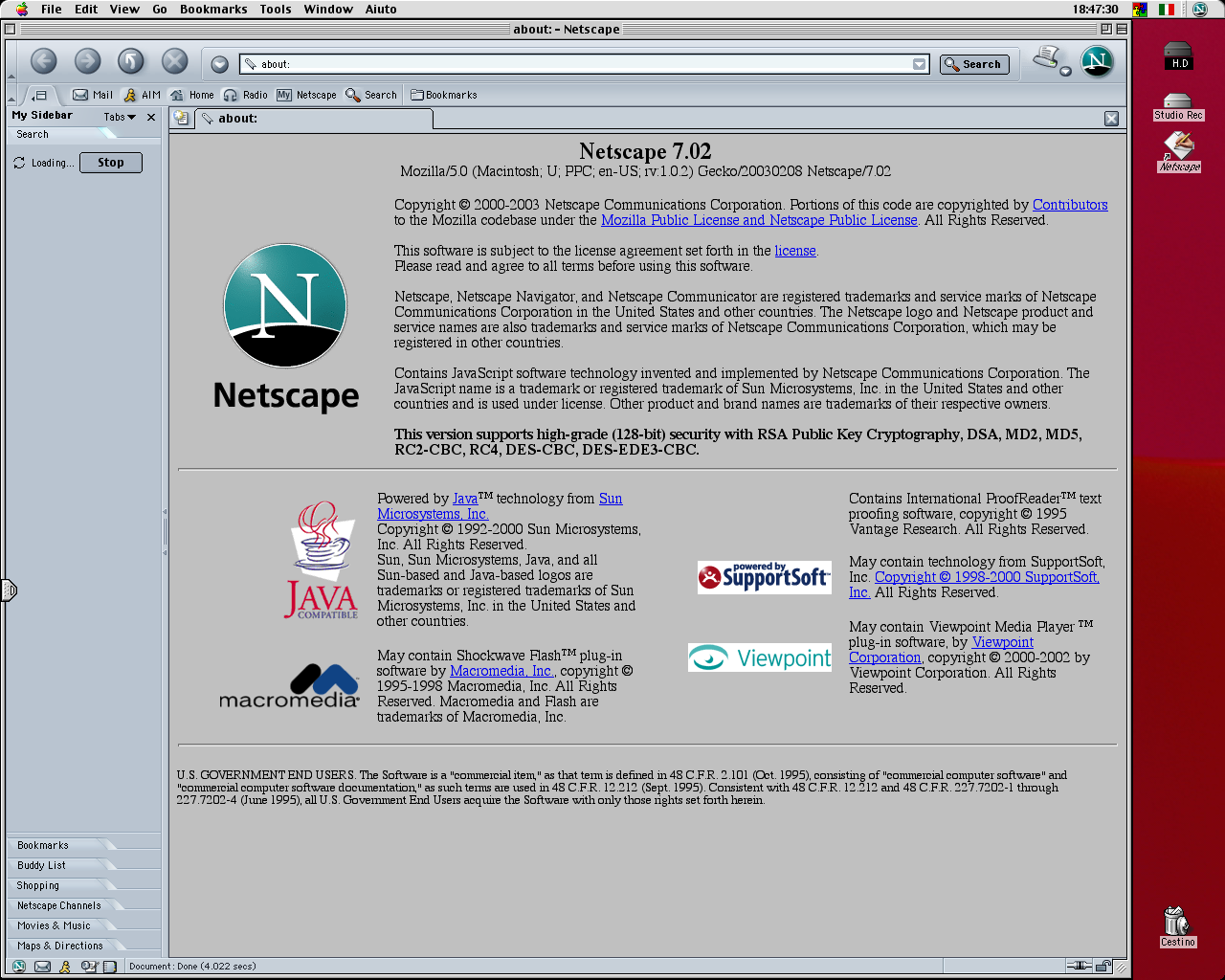 Netscape 7.02 for Mac About Screen (2003)