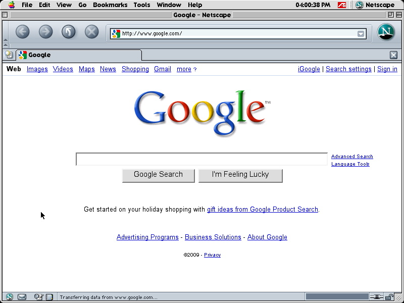 Netscape 7 for Mac performing 2009 Google Search (2003)