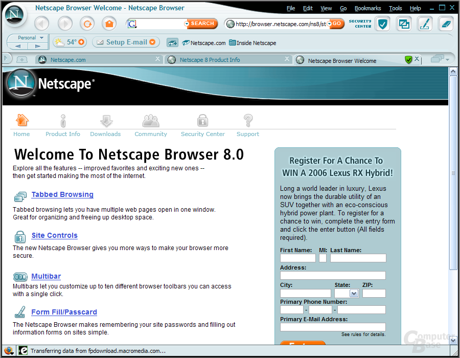 Netscape 8 for Windows Start Page (2006)