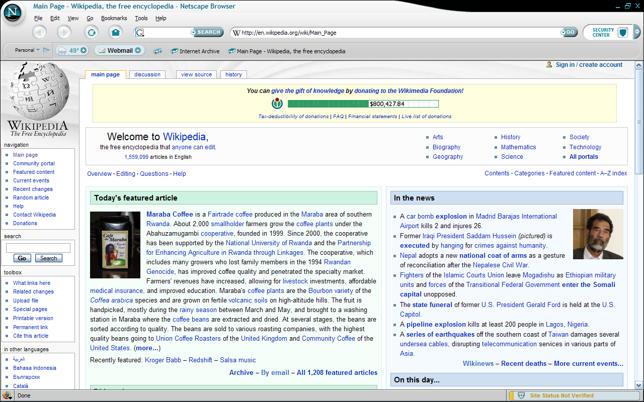 Netscape 8 for Windows showing Wikipedia (2006)
