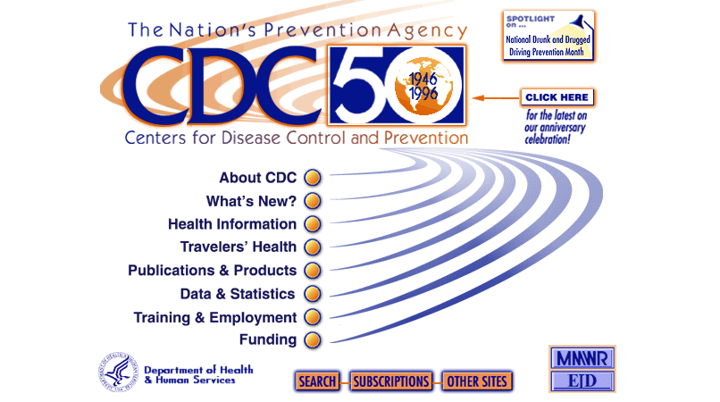 CDC.org website homepage in 1996