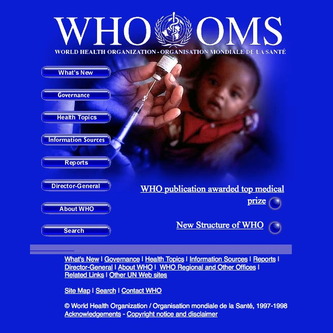 WHO website homepage in 1998