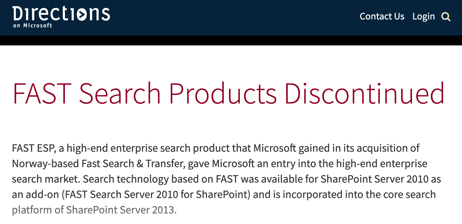 Microsoft FAST Search Platform Retirement Article (2013)