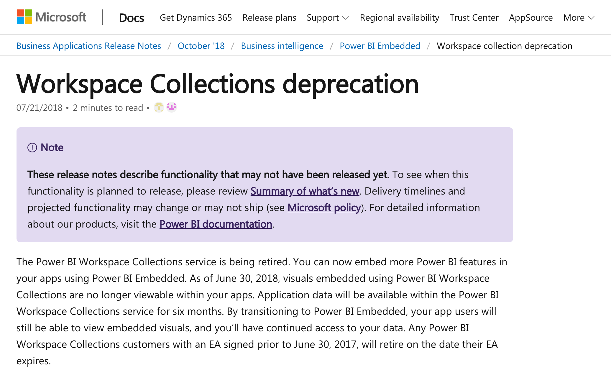 Power BI Workspace Collections Retirement Announcement (2018)
