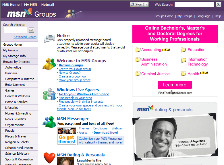 MSN Groups (2002)