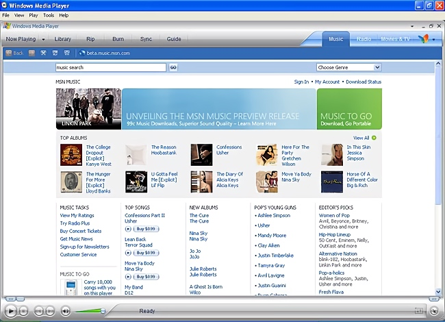 MSN Music Store In Windows Media Player (2004)