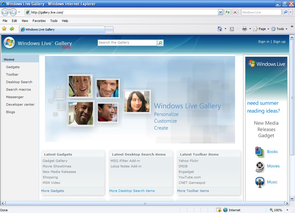 Windows Live Gallery Homepage (2006)