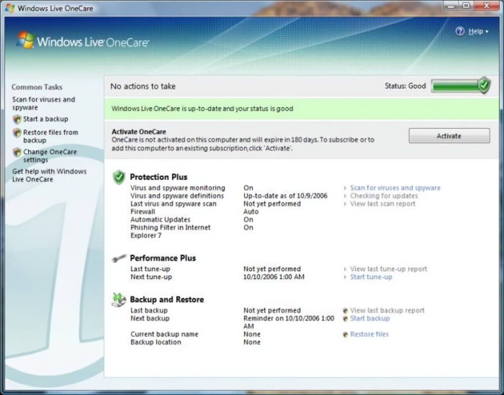 Windows Live OneCare Interface (2006)
