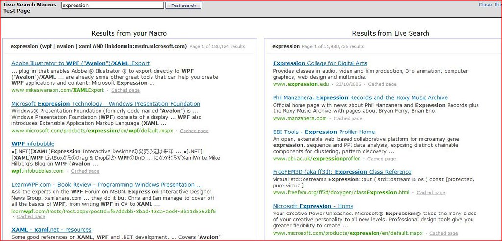 Windows Live Search Macro Example (2006)