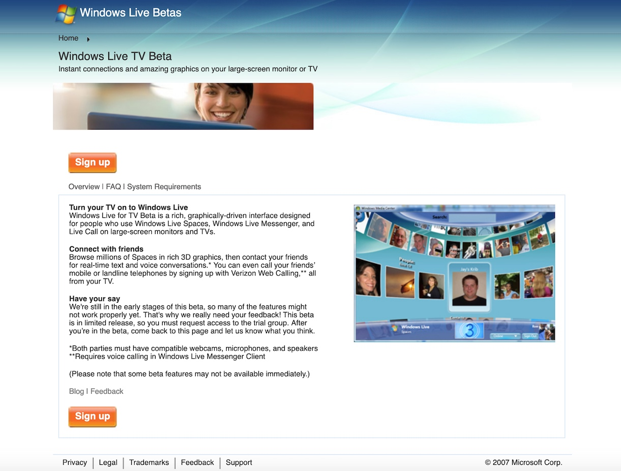 Windows Live TV Homepage (2007)