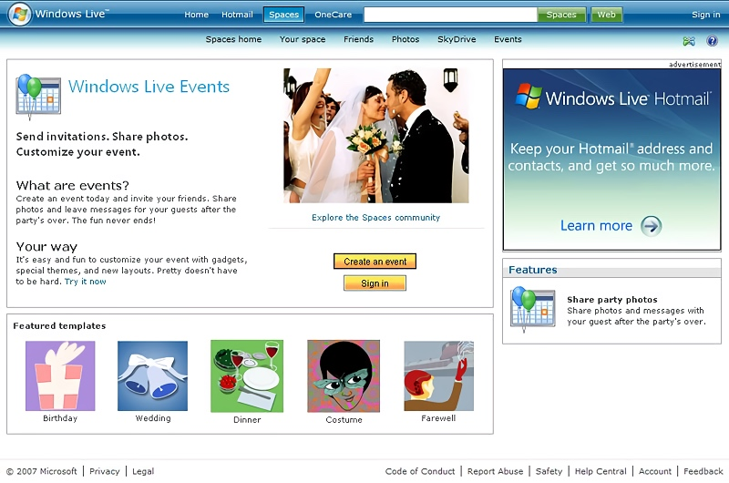 Windows Live Events Homepage (2007)