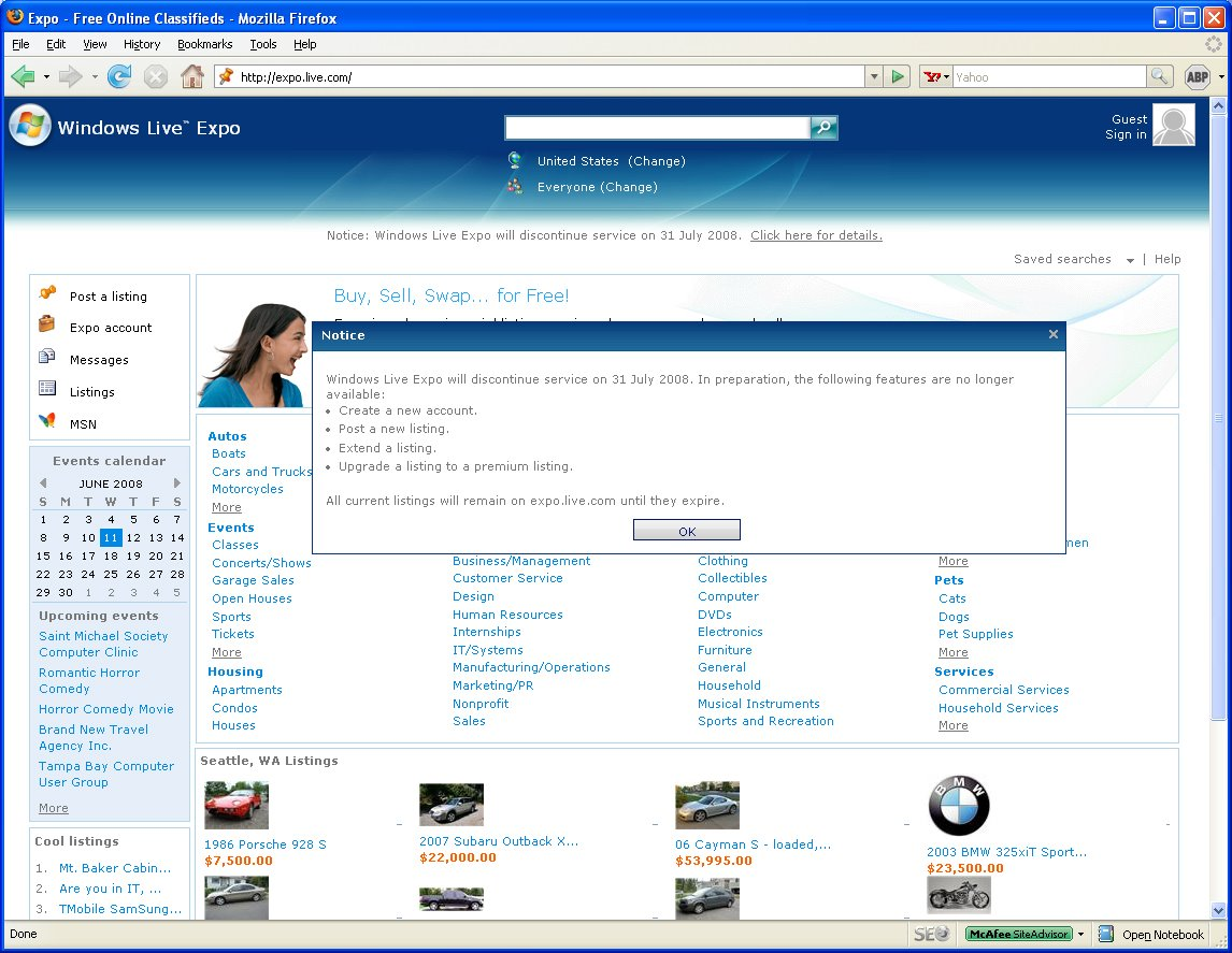 Windows Live Expo Classifieds Site (2008)