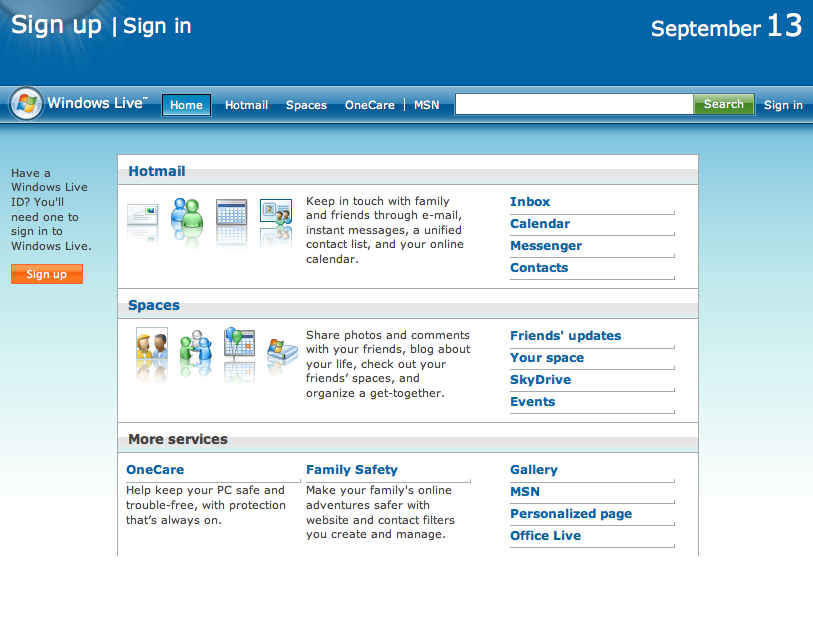 Windows Live Homepage (2008)