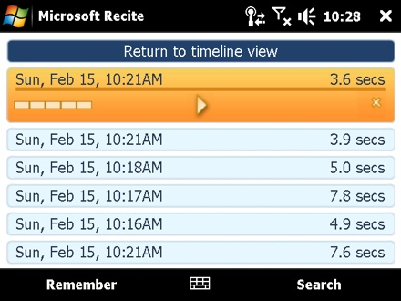Microsoft Recite Voice Recording App Interface (2009)