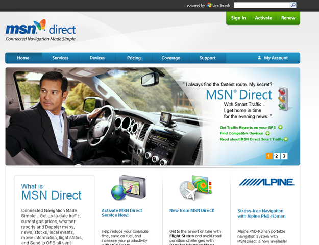 MSN Direct Homepage (2009)