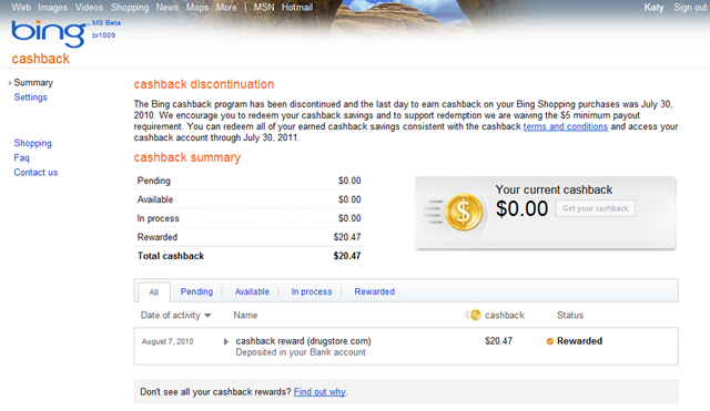 Bing Cashback Account Interface (2010)