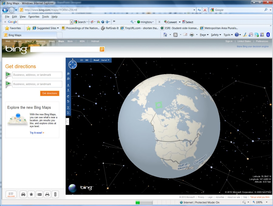 Bing Maps 3D Interface Showing the Globe (2010)