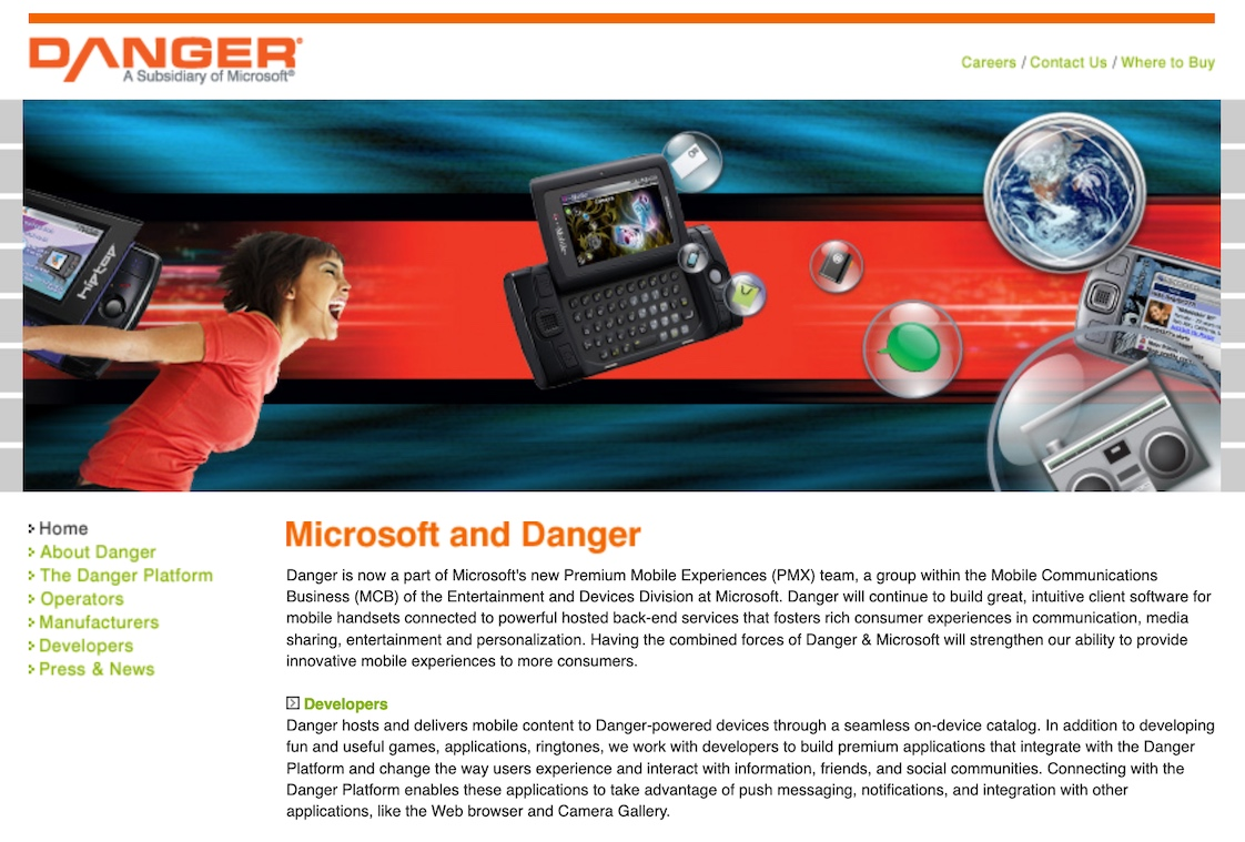 Danger.com Homepage After Microsoft Acquisition (2008)