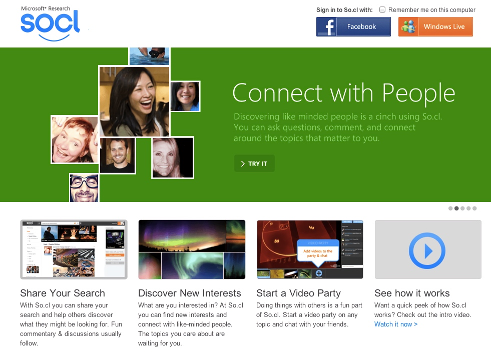 Microsoft So.cl Social Network Homepage (2012)