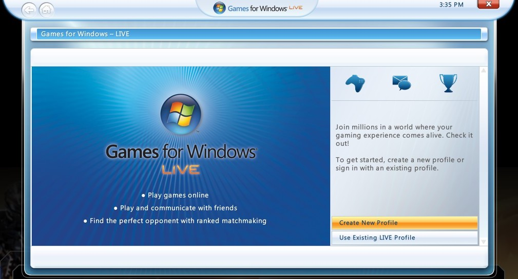 Games for Windows Live Interface (2016)