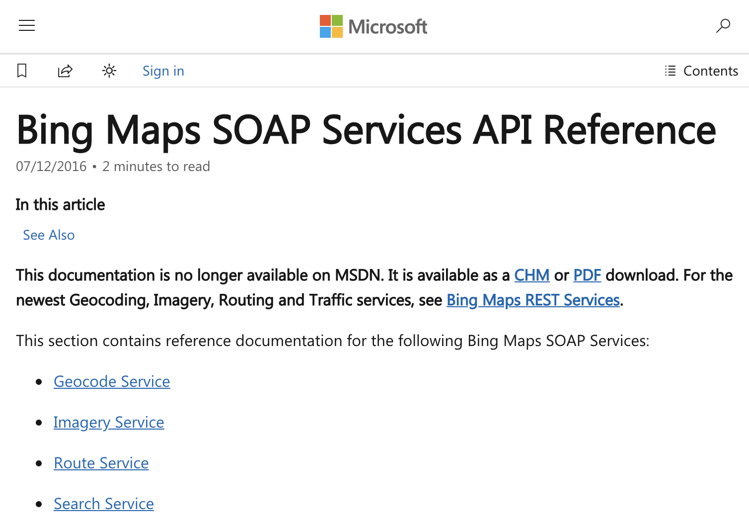 Bing Maps SOAP Web Services API Reference (2016)
