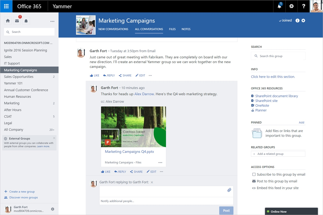 Microsoft Office Yammer Enterprise Interface (2016)